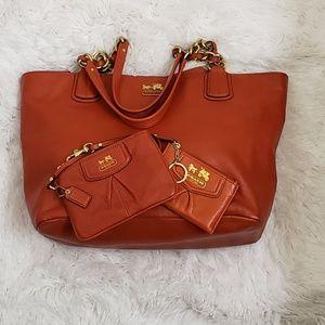 COACH - Madison Burnt Orange Handbag Set